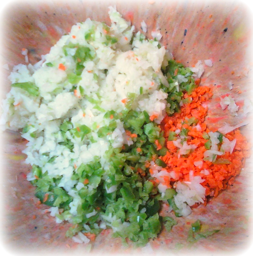 finely-chopped onion, green bell pepper and carrot